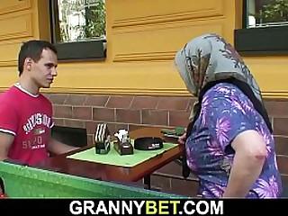 Big tits granny rides his cock