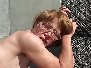 Granny In Glasses Face Showere With Cum
