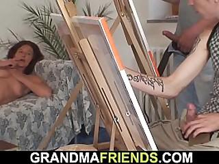 Nude granny threesome