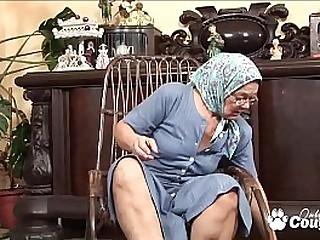 Slutty granny wanking on rocking chair