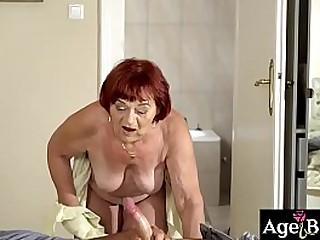 Rob tastes granny Marsha's wrinkled pussy