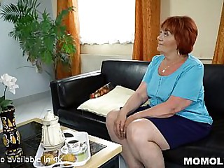 Chubby Granny Receives Cock Delivery