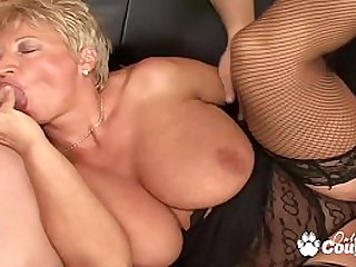 Chubby mature blondie gagging and banging hard on couch