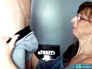 Sexy Granny Sucks and Swallows Cum From Big Cock