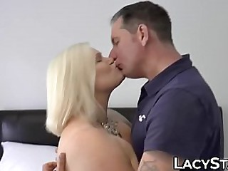 Blonde granny rides cock after hot oral