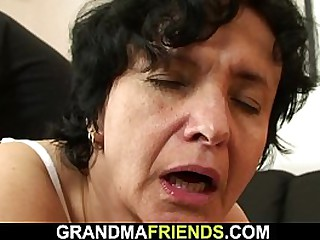 Old granny swallows two cocks after shaggy pussy toying