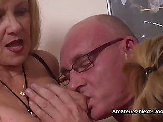 Experienced Granny watches and joins in with inexperienced y. amateur