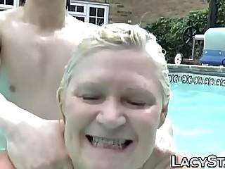 Granny with big tits has voyeur fuck her