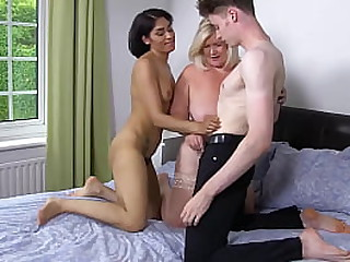 LACEYSTARR - Granny Lacey and Sahara Knite share a very lucky cock