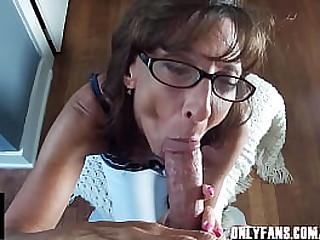 Petite Granny Sucks Cum From A Big Veiny Cock