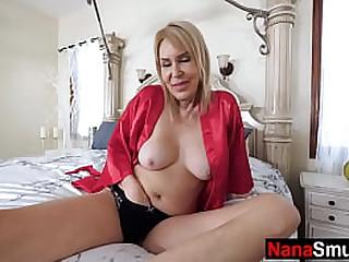 Granny fingers her pussy & fucks step grandson