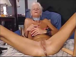 Very hot skinny granny masturbating with toys in front of webcam