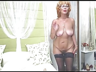 Grandson accidentally found out that his granny is a webcam slut! Now you will dance with me, old whore! Total submission to the old redhead bitch, who is also a vocal teacher!