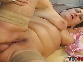 Fat grandmother seducing her mechanic son with her curves and gets fucked hard.