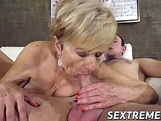 Granny craves for youngster cock and cum
