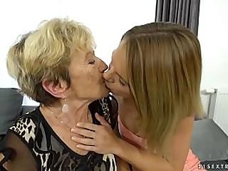 Granny Malya and her much y. friend's fresh pussy