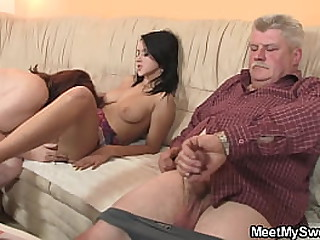 Young gf gets seduced by granny and old dad