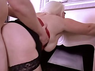 Busty Granny Sucks Cock and Swallows