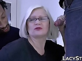 Chubby Brit granny takes on two huge cocks