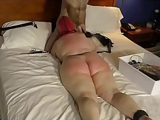 Granny gives a blow job while being b.