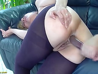 ugly saggy tit 85 years old granny gets first time rough and deep doggystyle anal fucked by her big dick stepson
