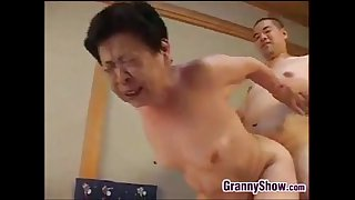 Japanese Grandma Giving A Great Blowjob